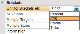 NanoTrader units for automated stop orders: ticks, points, ATR and percentage.